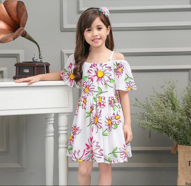 3fcaaffedf5f Girls Shoulderless Flower Printed Beach Dress 2016 Newest Children Summer  Chiffon Strapless Casual Dress Clothes Fashion