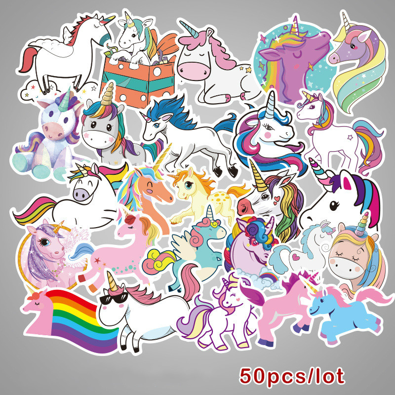 50-pcs-colorful-cute-unicorn-stickers-for-laptop-car-styling-phone-luggage-bike-motorcycle-mixed-cartoon-pvc-waterproof-stickers