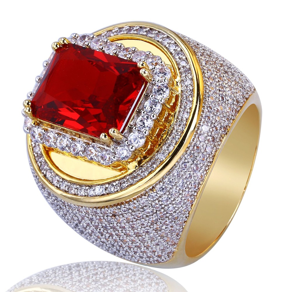 Fashion Gold Color Classic Hip Hop Style Copper Zircon Ring Red Finger Rings for Men Women Size7 11
