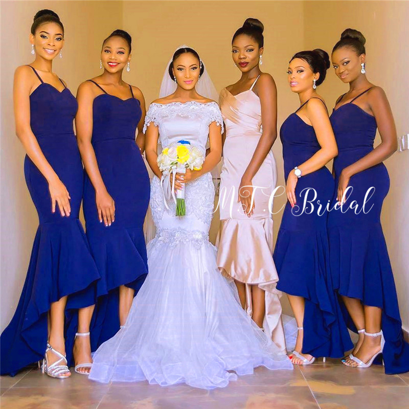 New 2019 Royal Blue African   Bridesmaid     Dresses   Spaghetti Strap Mermaid Elastic Satin Long Maid Of Honor   Dress   Wholesale