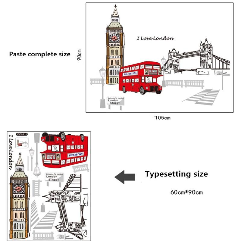 Londyn Piętrowy autobus Naklejki ścienne Naklejki Wymienny Creative - Wystrój domu - Zdjęcie 3