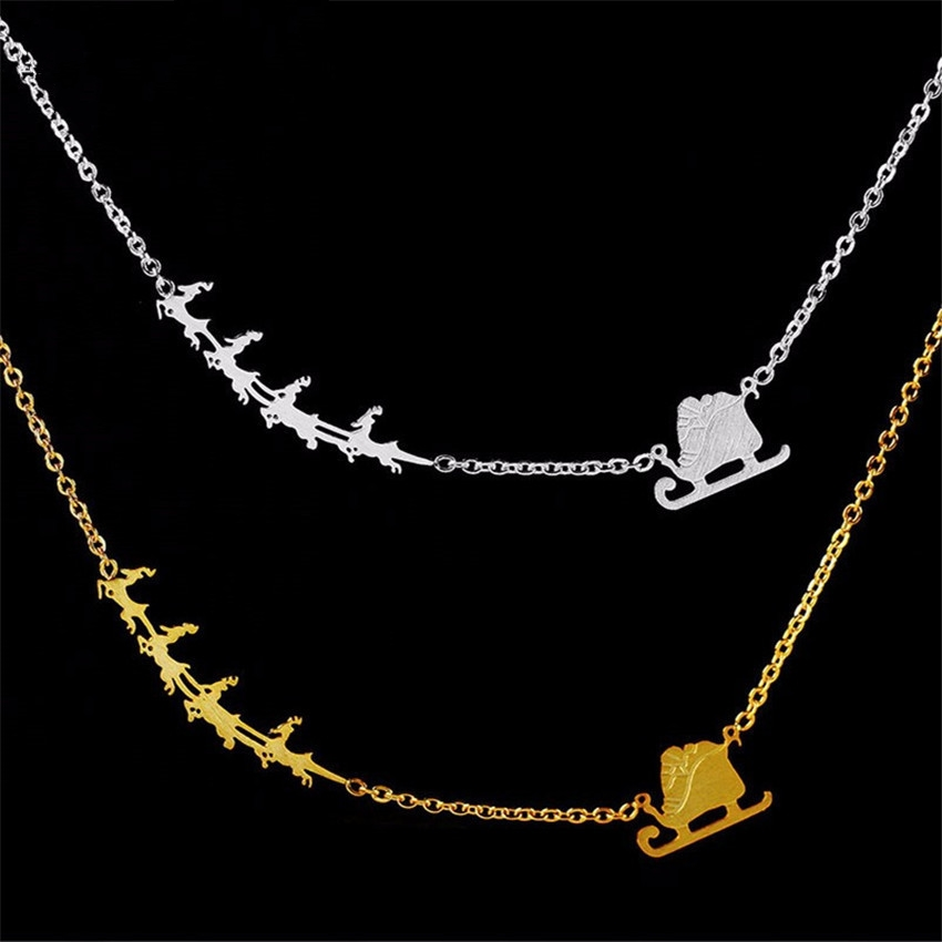GORGEOUS TALE Boho Jewelry Stainless Steel Christmas Necklaces Gold Geometric Santa Claus And Deer Pendant Best