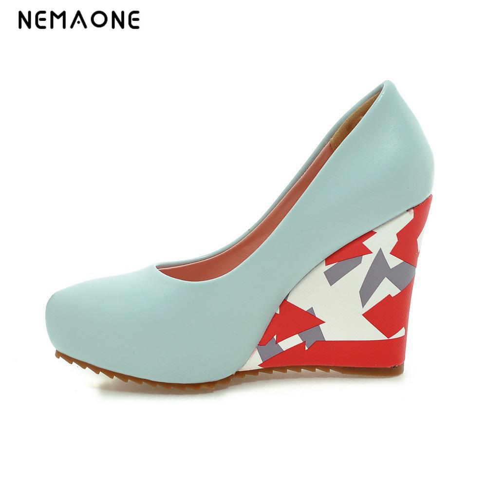 где купить New  pointed toe pumps 2017 women fashion comfortable wedges shoes casual slip-on ladies dress footwear по лучшей цене