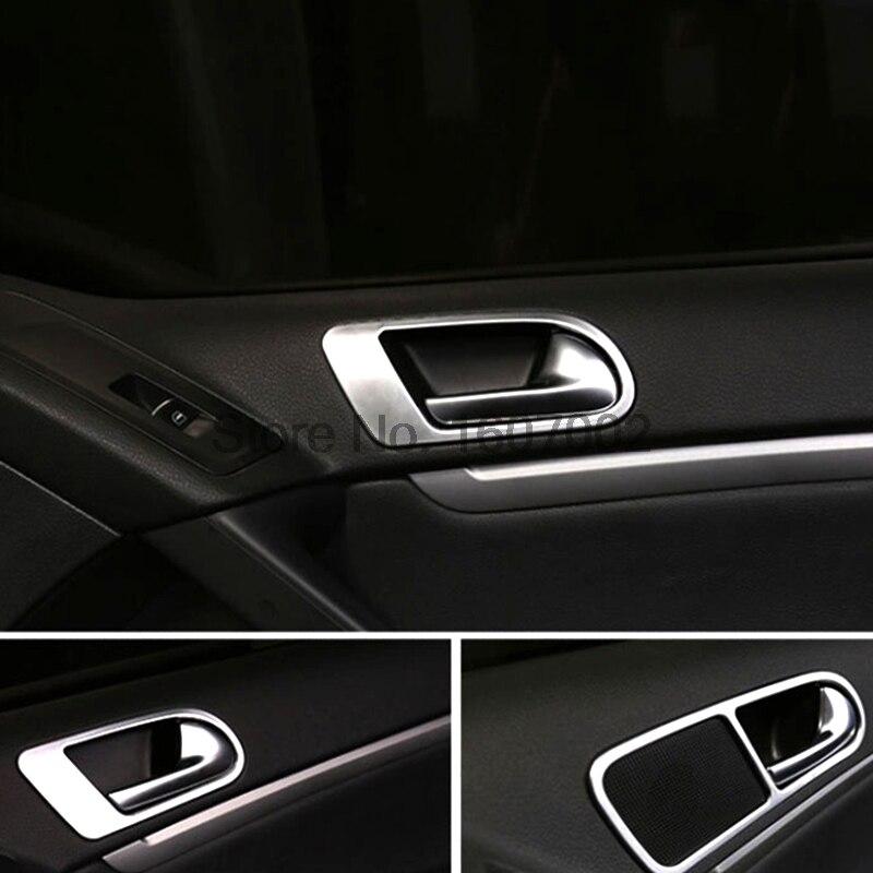 Prix pour Pour Volkswagen VW Tiguan 2012 2013 2014 2015 Mat Chrome intérieur Poignée De Porte Bol Tasse Couverture Anneau De Garniture Lunette De Voiture accessoires