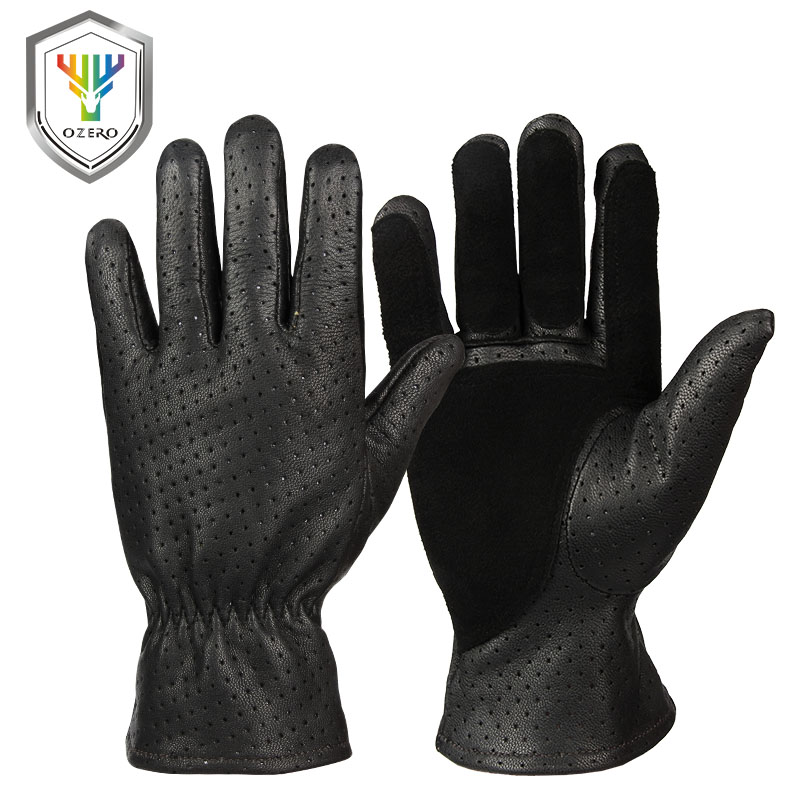 OZERO Men's Work Gloves Leather Genuine Goatskin Security Protection Wear Safety Workers Repairman Garage Racing Gloves 5021 цена