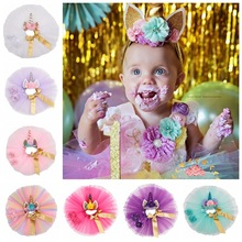 Oaoleer Hair Accessories 4 Pcs/Set Unicorn Bands for Girls Floral Headbands Polyester TUTU Skirt Baby