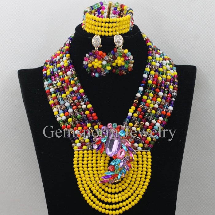 Mustard Yellow Nigerian Wedding African Beads Jewelry Set Multicolor African Fashion Jewelry Set Crystal Free Shipping WA056