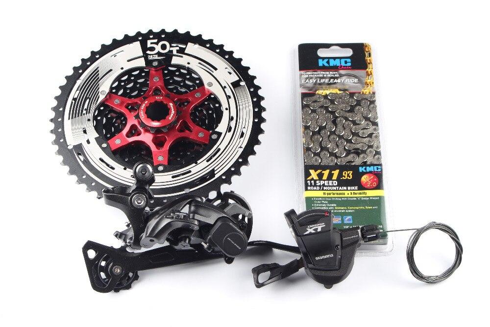Shimano XT M8000 4 pcs de bicyclette de vélo vtt 11 vitesse kit Groupset RD-M8000 Shifter avec SunRace cassette K7 KMC chaîne 11-46 T 11-50 T - 3