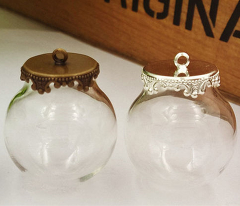 NEW 100 sets/lot 25x15mm glass globe  with Crown findings set bubble DIY vial pendant