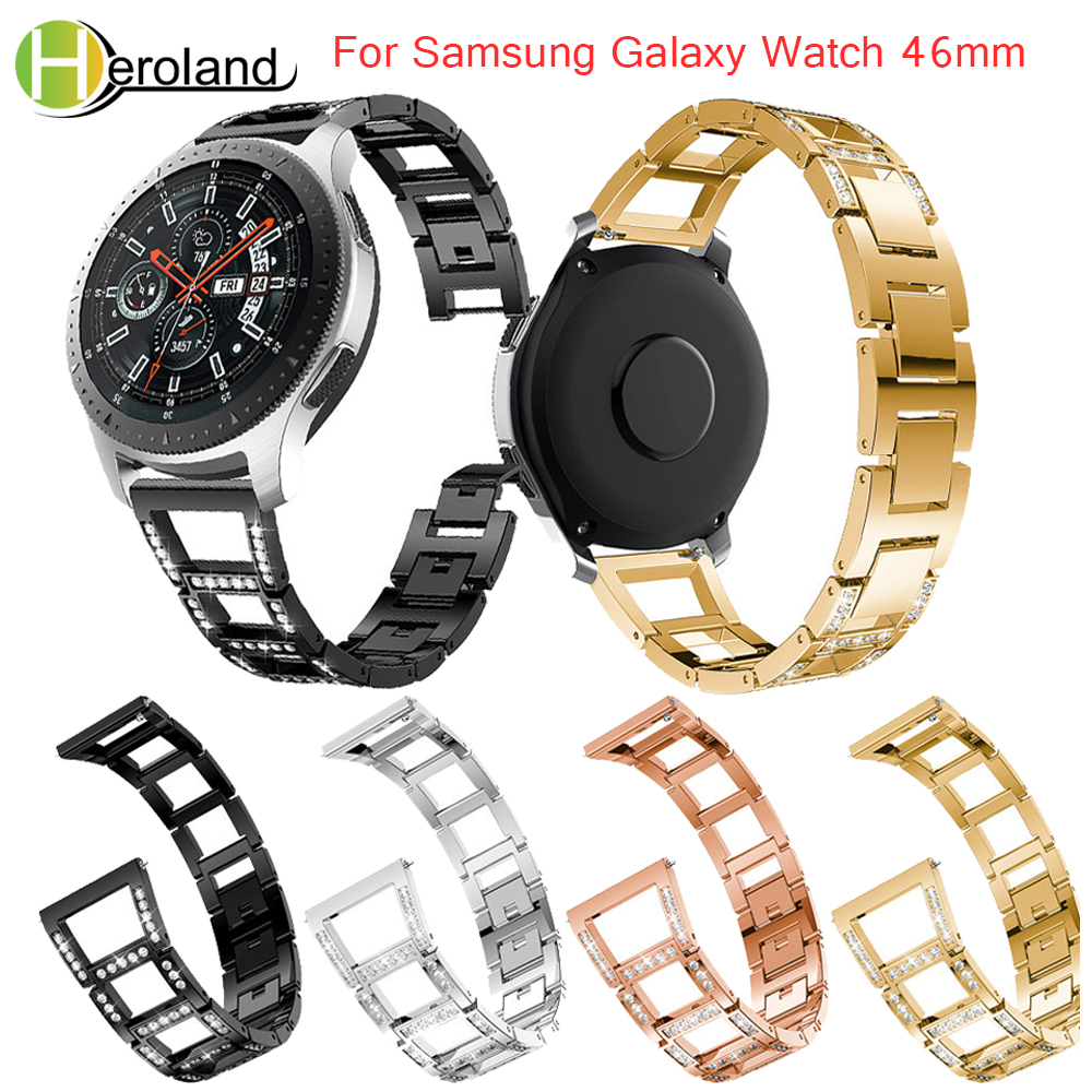 hotnew For Samsung Galaxy Watch 46mm band Bracelet Watchband for Huami 2S Stainless Steel Replace metal wirst with White diamond in Watchbands from Watches