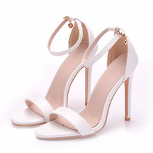 купить 2018 Ankle Strap Shoes Women Sandals Pu Leather Open Toe Ladies High Heels Summer Thin Heel Female Party Dress Sandals XY-A0126 по цене 1930.49 рублей