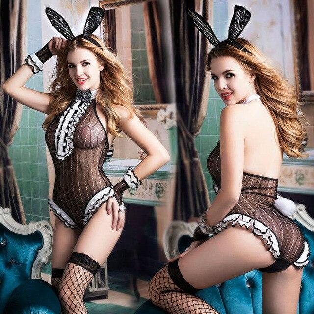 New Porn Women Lingerie Sexy Hot Erotic Catsuit Rabbit Girl Cosplay Sexy Underwear Black Bodysuit Erotic