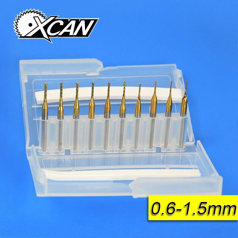 10 pcs 0.6mm-1.5mm Titane Revêtu de Carbure Fin Fraise Gravure Bord Cutter CNC Routeur Bits Fin moulin pour PCB Machine