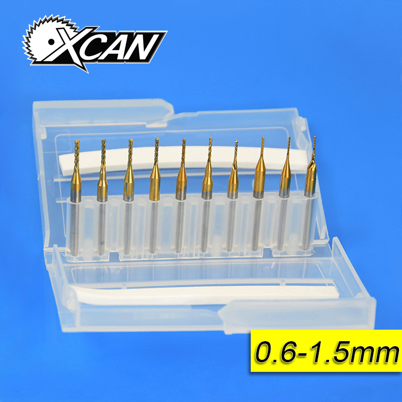 10pcs 0.6mm-1.5mm Titanium Coated Carbide End Milling Cutter Engraving Edge Cutter CNC Router Bits End mill for PCB Machine best 1pc 3 175mm tungsten steel titanium coat carbide end mill engraving bits cnc pcb rotary burrs milling cutter drill bit