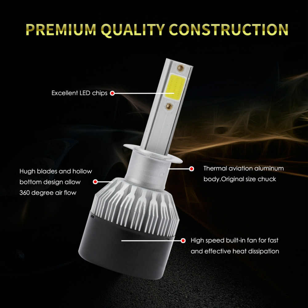 EV9 2PCS H1 60W 8000LM 6000K  White DOB LED Headlight Bulbs High Beam