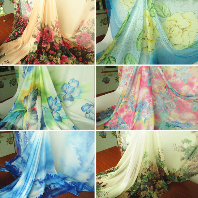 2 Meters Lot 30d Light Weight Poly Chiffon Sheer Fabric Evening Dresses Material Position Print