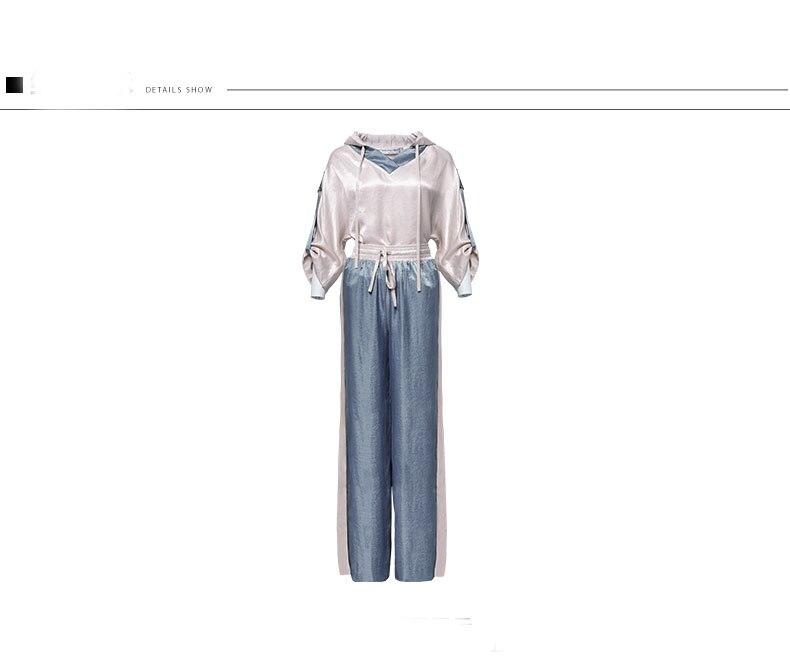 Kadın Giyim'ten Kadın Setleri'de 2019 Bahar Moda Iki Adet Setleri Bayan Uzun Kollu Katı Bluz Yüksek Bel Geniş Bacak Pantolon Kadın Zarif İki Adet takım elbise K696'da  Grup 2