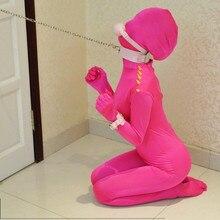 Забавный розовый спандекс лайкра зентай костюм сексуальный женский комбинезон все включено колготки Боди костюмы
