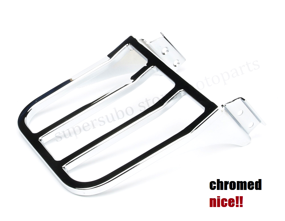 Motorcycle Chrome Sport Sissy Bar Backrest Luggage Rack For Harley HD Softail Dyna XL FLST sportster chrome custom motorcycle skeleton mirrors for harley davidson softail heritage classic