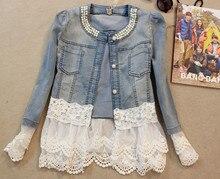 Women's Lace Patchwork Denim Shirt Lace Beading Denim Blouse for ladies long sleeved Female vintage Jeans Tops