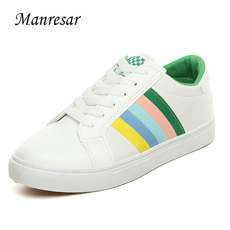 Manresar 2017 New arrival Lacing Up Casual Shoes Female Round Toe Shoes White PU Leather Shoes Concise Girl Student Solid Shoes