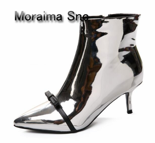 Moraima Snc ankle boots sliver Mirror thin high heels women boots black butterfly-knot decor sexy shoes women motorcycle boots moraima snc red boots transparent high heels boots women square toe mid calf rainboots sexy ankle boots for women bottine femme