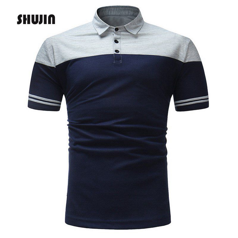 SHUJIN Summer Basic   Polo   Shirts Buttons Men Short Sleeve Turn-down   Polo   Casual Tee for Male Patchwork Striped Camisetas