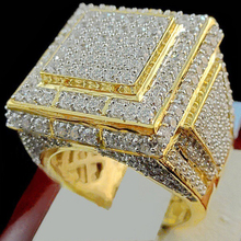 HOMOD Mens Ring Gold Color Classic Male Vintage Men Clear CZ Dubai Luxury Rings Party Fashion Jewelry Size 7-13