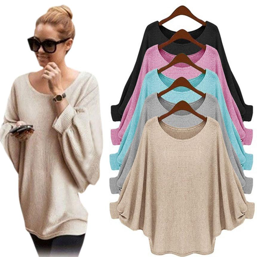 Vestido 2017 Korean Long Sleeve Casual Loose Pullover Knitted Sweater Women Warm Winter Batwing Cardigan Femme