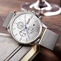 Megir marca de moda de luxo projeto homens casual banda de malha de prata de aço inoxidável relógio cronógrafo para homens relógio de pulso de quartzo 2011