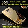 Caso de telefone Huawei honor 7, caso luxo Ultra Slim 2 em 1 Metal Frame de alumínio + espelho acrílico capa Case para