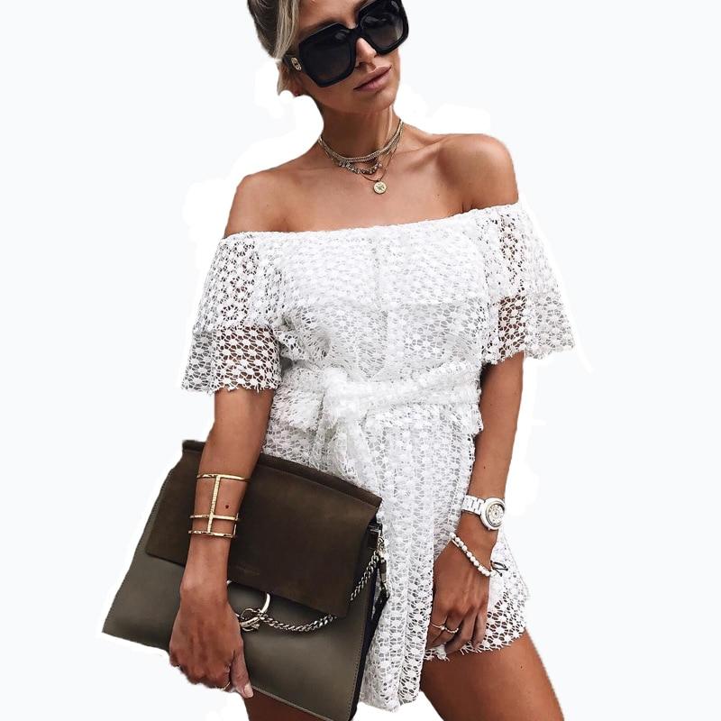 2017 Sexy White Rufles Polka Dot Lace Dress Summer Women Slash Neck Playsuits Casual Loose Waist Bow Tie Beach Dress