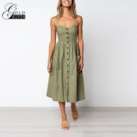 Gold Hands New Female 2018 Sum Women Cotton Button Striped A Lin Fashion Pockets V Neck Spaghetti Strap Dress High Waist Dresse