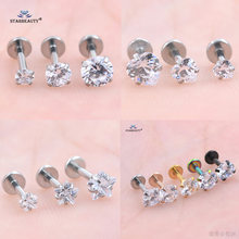 1pc/lot 16G 6mm Star Heart Round Bijoux Nose Piercing Labret Lip Ring Rose Gold Helix Piercing Tragus Nose Ring Pircing Earring(China)
