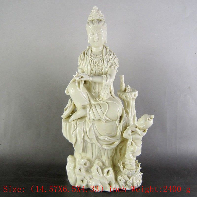 Height: 14.57 inches/Chinese dehua porcelain goddess guanyin bodhisattvaHeight: 14.57 inches/Chinese dehua porcelain goddess guanyin bodhisattva