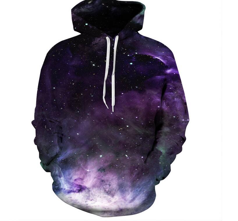 New 2018 Autumn Space Galaxy Men/Women 3d Sweatshirts Print Purple Nebula Clouds Hooded Hoodies Unisex Pullovers Thin Hoody XXXL