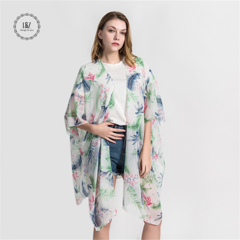 L&Z 2019 New Women's Sexy Fresh Leaves Printed Cover-ups Smooth Chiffon Sundress Free Shipping