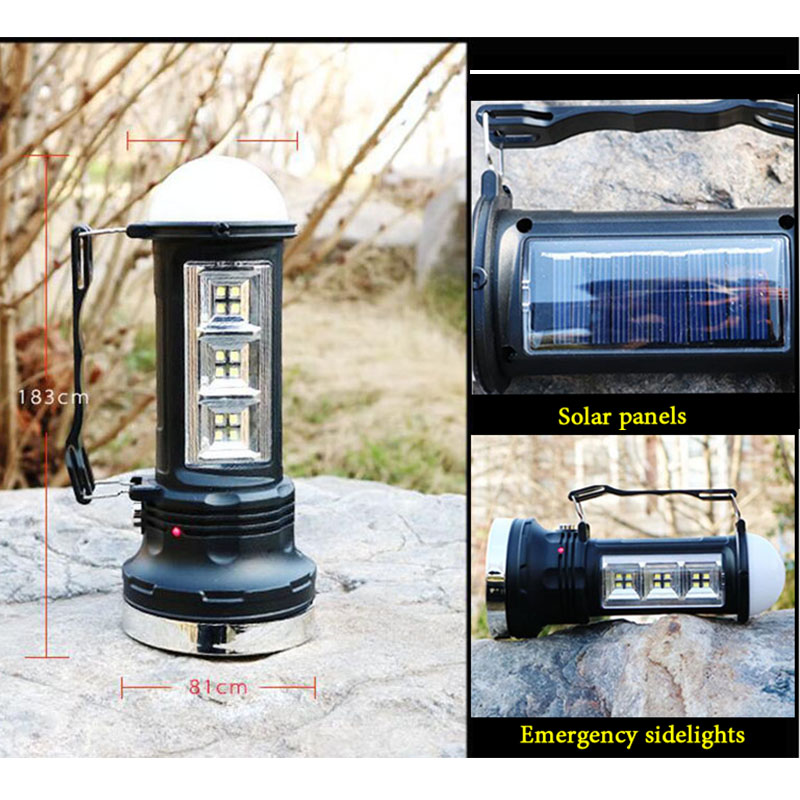 Powerful Led Flashlight Solar Power rechargeable built-in battery Torch Hand lamp Lantern Lights for Hiking Fishing Camping
