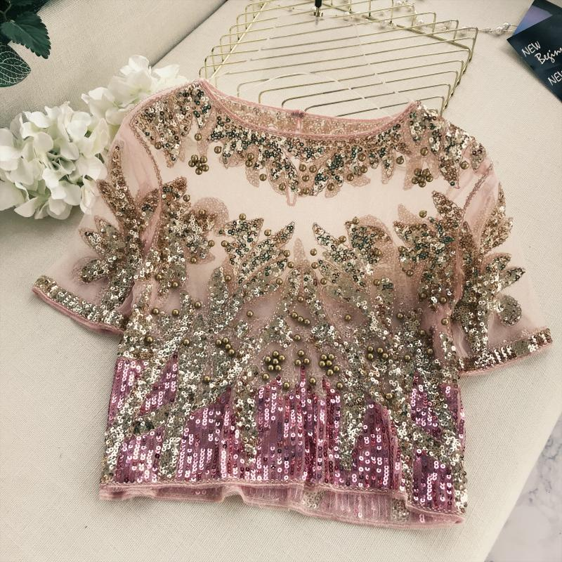 2018 Runway Star T Shirt Women Temperament Embroidered Bead Blingbling Bright Short Sleeve Perspective T shirt Ladies Tees Tops