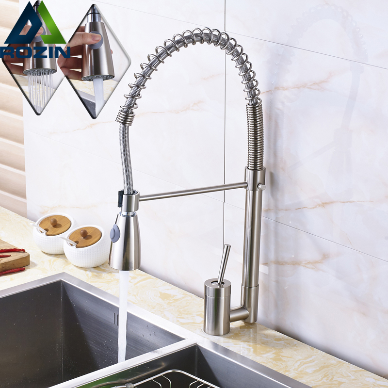 Luxury Brushed Nickel Pull Down Swivel Spout  Kitchen Mixer Tap Single Lever Spring Kitchen Sink Washing Taps