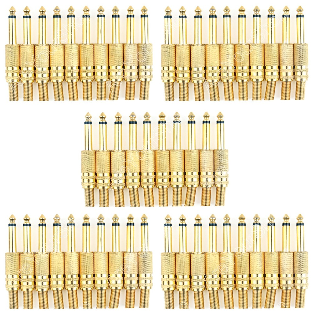 Areyourshop 50 Pcs Gold Plated 6.35mm Male 1/4 Mono Jack Plug Audio Connector Soldering 12 pcs black 6 35mm mono audio plug nickel plated angle