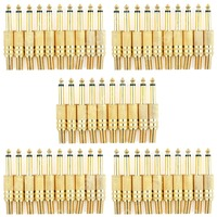 50 Pcs Gold Plated 6 35mm Male 1 4 Mono Jack Plug Audio Connector Soldering