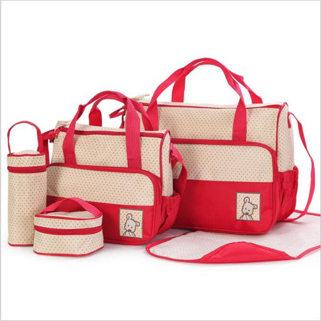 mummy bag Five-piece for moms with nappy bags function and 2016 baby diaper mama Bags maternity fashion Multifunction LD007