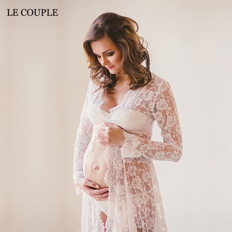 Le Couple Off-white Maternity Photography Props Lace Long Dress V-neck Floor Length Eyelashes Lace Maternity Photo Shoot Gown