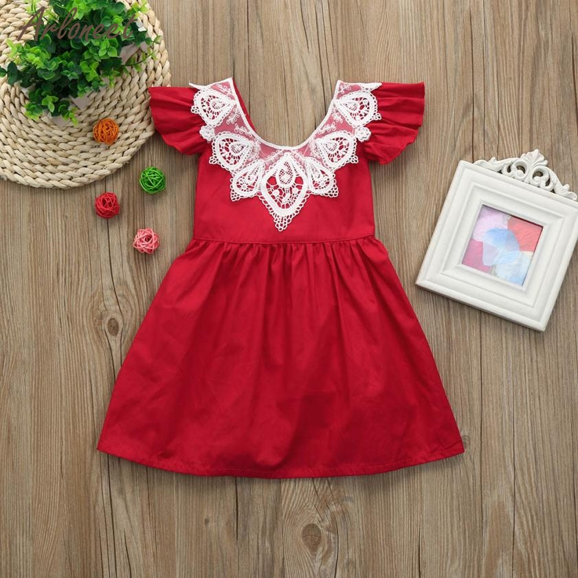 2018 baby dress summer Toddler Kid Baby Girl Clothes Lace Ruffle Princess Party Dresses Outfits JAN4