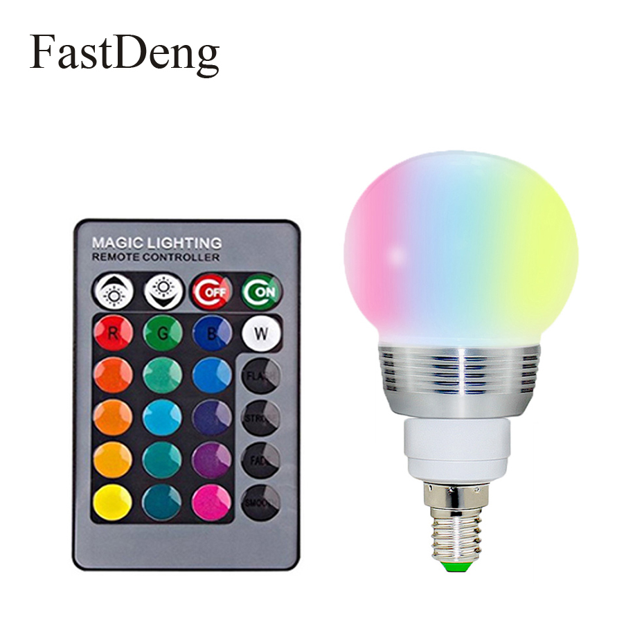 E27 E14 RGB LED Bulb 110V 220V 16 Color Adjustable Light With 24 Key Remote Control For Indoor And Outdoor Party Decoration