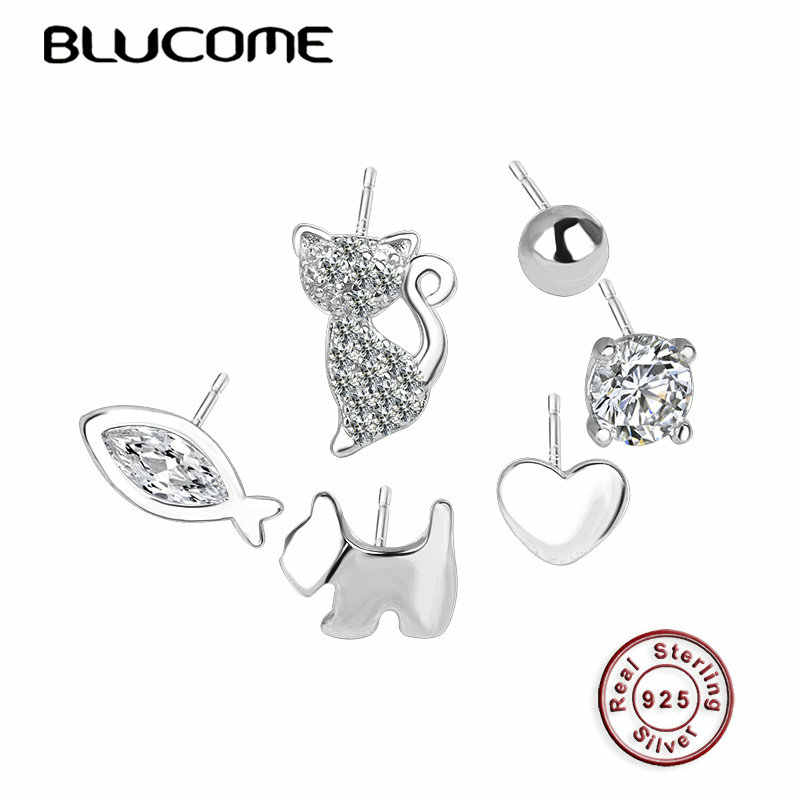Blucome Fashion 925 Silver Zircon Jewelry 6 Pieces Kitten Fish Love Dog Shape Small Stud Earring Women Girls Daily Accessories