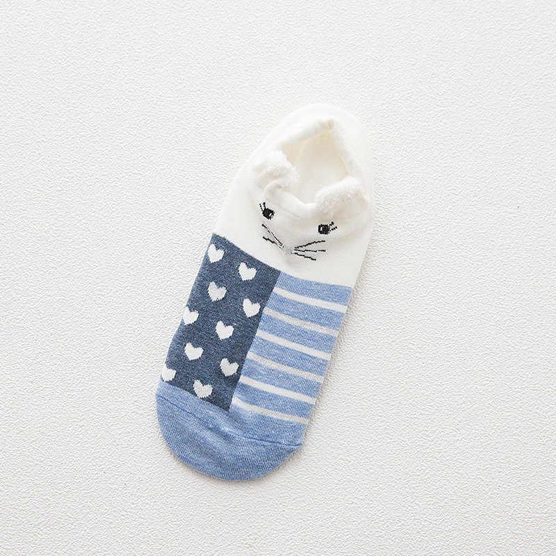 5 Đôi Nữ Sock Xuân Hè Ba Chiều Dẹt Nữ Hoạt Hình Bông Vô Hình Cotton Nhật Bản Động Vật Dễ Thương Sock