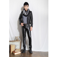 New Fashion Mens Faux PU Leather Skinny Pants Novelty Biker Trousers Nightclub College Party Pant Size