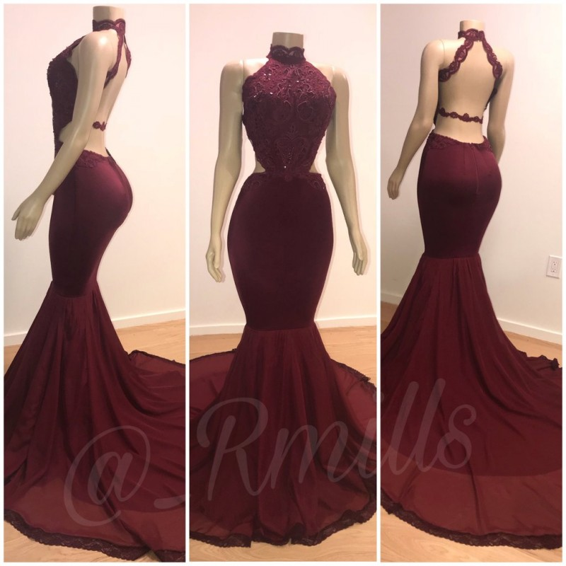 Burgundy Mermaid   Prom     Dresses   for African Black Girls 2019 Vestido De Festa Real Photos High Neck Backless Event Party Gowns